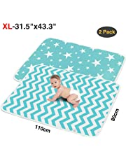 """2 Pack XL Portable Baby Diaper Changing Pads,Waterproof Thick,Soft and Absorbent Baby Crib Sheet Cover,Ideal for Changing Table/Station,Crib,80x110cm/31.5""""x43""""(Star+Ripple)"""