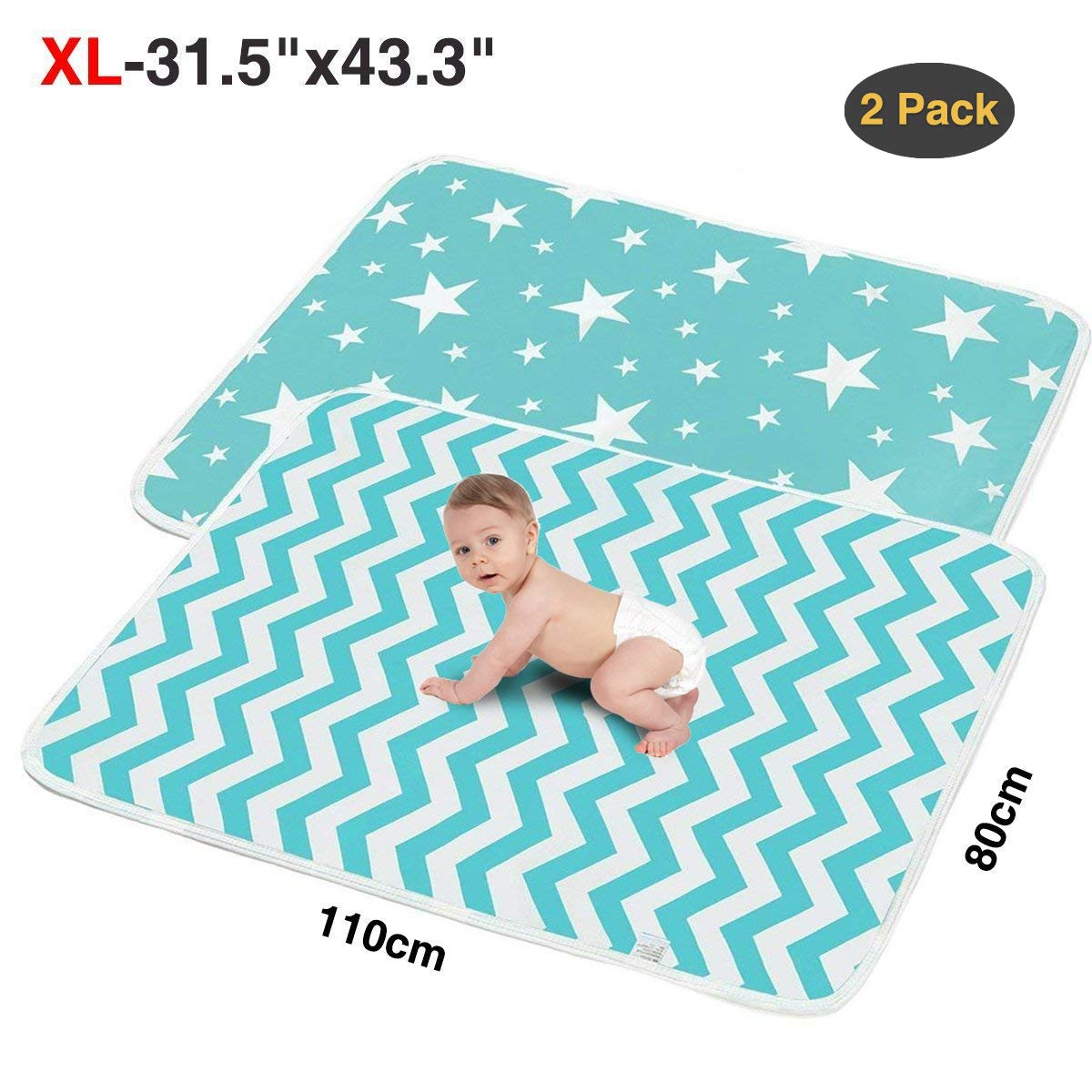 2 Pack XL Portable Baby Diaper Changing Pads,Waterproof Thick,Soft and Absorbent Baby Crib Sheet Cover,Ideal for Changing Table/Station,Crib,80x110cm/31.5