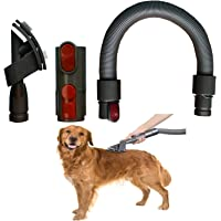 Dog Pet Grooming Brush plus Flexible Vacuum Hose for Dyson V11 V10 V8 V7 V6 Vacuum Cleaner with Quick Release Converter…