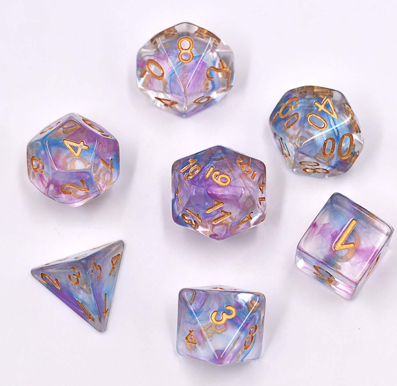 オープニング 大放出セール (Purple&blue) - Polyhedral and B07H3SF5JY Dice Set Game Transparent Nebula DND Dice for Dungeons and Dragons MTG RPG Toptable Game (Purple Blue) B07H3SF5JY, セールプラザ:36b1b9c4 --- cliente.opweb0005.servidorwebfacil.com