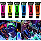 Kim-Onni Glow in Dark Body Paint Face UV Backlight Neon Fluorescent 0.35oz Set of 6 Tubes