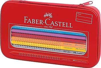Faber-Castell 112450 - Estuche de metal con 16 ecolápices de colores, 1 ecolápiz triangular de grafito y 1 afilalápices, cierre de cremallera, ...