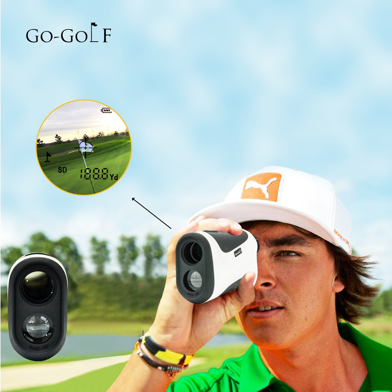Golf Rangefinder | Laser Range Finder With Pin Sensor & Pulse Tech | Easy To Use, Compact, Accurate & Clear Reading | Golf Binoculars Yardage Rangefinder by Go-Golf (Image #5)