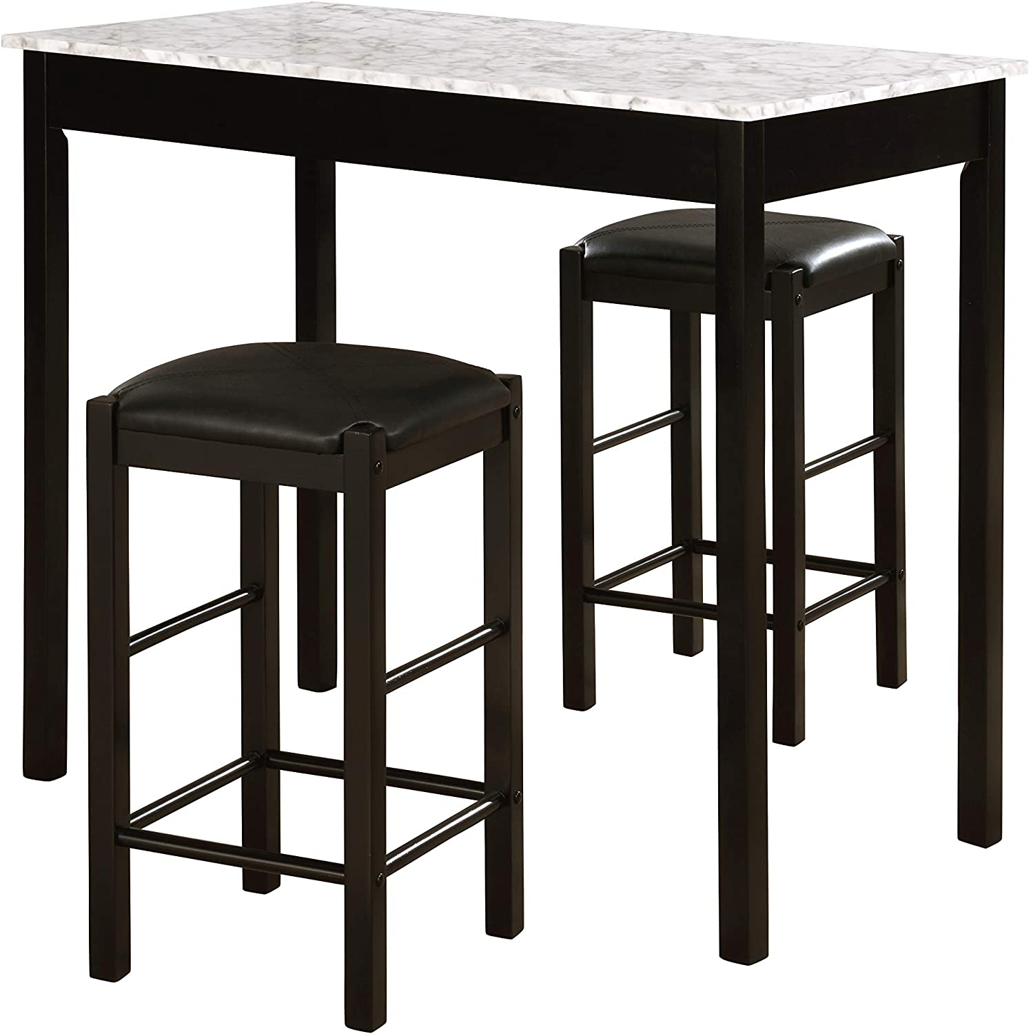 Linon Black 3 Piece Faux Marble Tavern Set