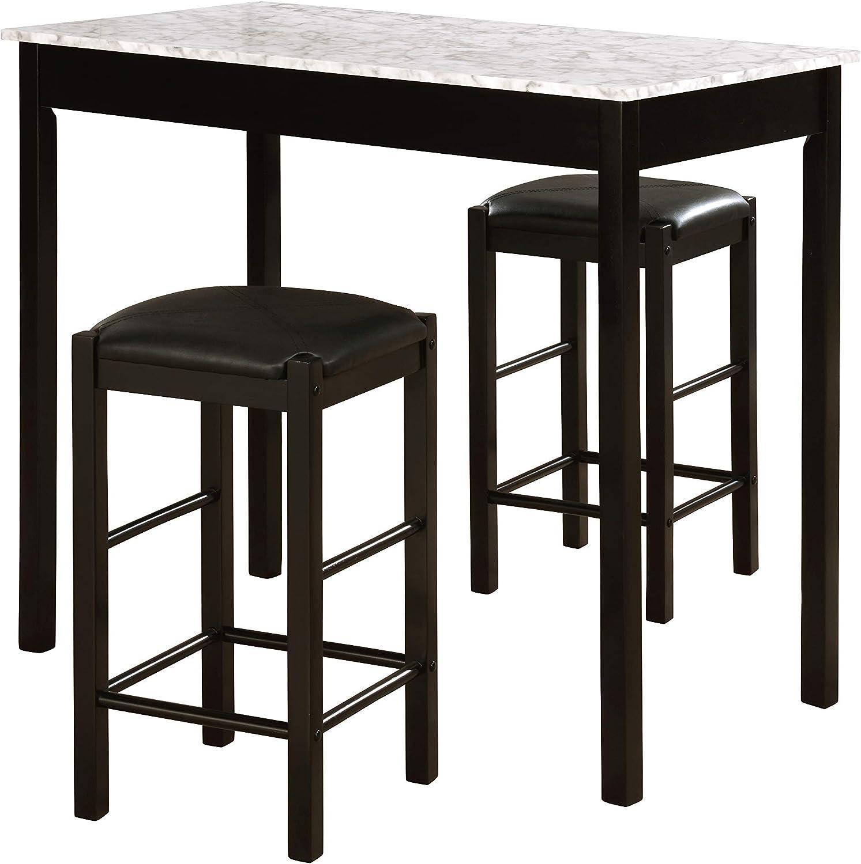 Linon Black 3-Piece Table Faux Marble Tavern Set (Black) (2-Pack)