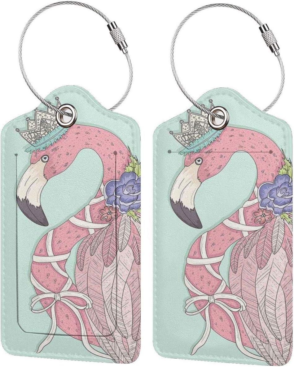 SIONOLY Etiquetas para Equipaje,Linda Flor de Flamenco Corona Cinta Cuento de Hadas niños niños Ilustraciones,4 Piezas Etiquetas de Equipaje de Viaje de la Maleta para Mochila