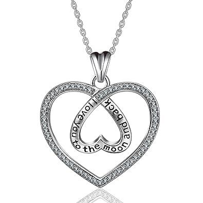 Eudora 925 Sterling Silber Schriftzug Anhänger, Herz Anhänger Halskette, unendliche  Liebe Doppel Herz Damen Schmuck Als Geschenk für Mädchen Damen Mutter ... 5b9df93caf
