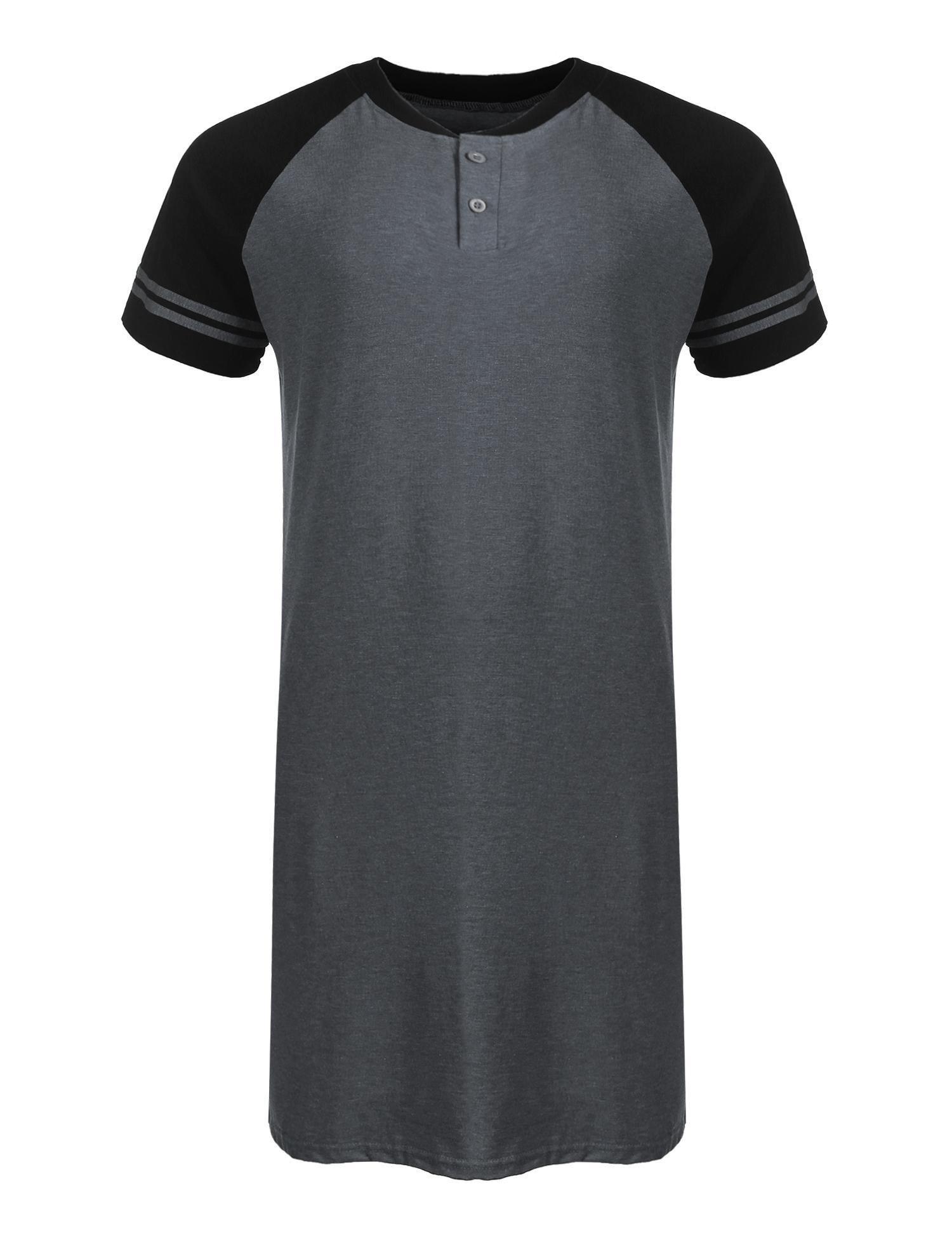 Dicesnow Men's Cotton Knit Nightshirt Sleep Shirt Comfort Sleepwear