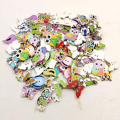 50pcs Bird Shape 2 Holes Wooden Buttons Scrapbook Embellishment Craft 20mm