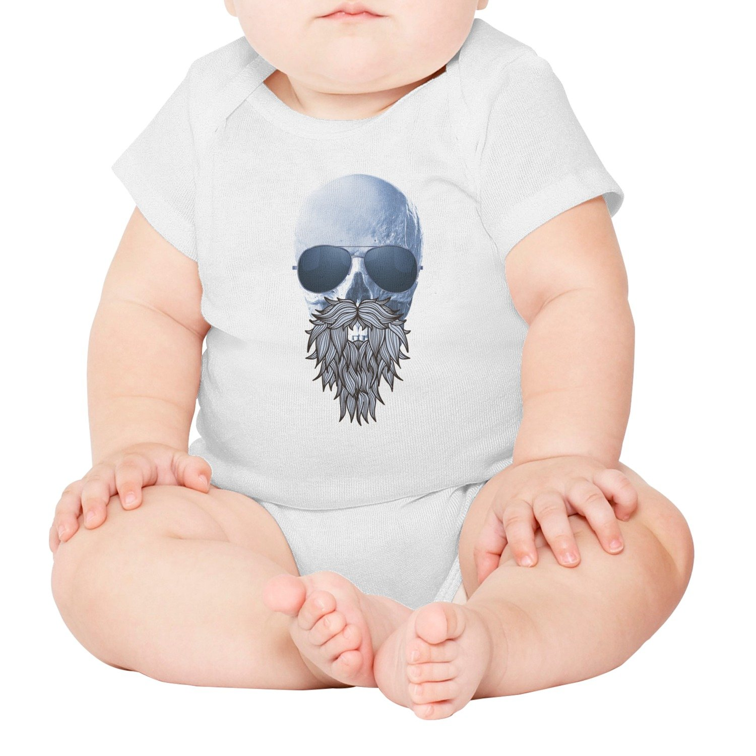 FanYe Skull Beards with Sunglasses Hipster Unisex Infant Baby Onesie Bodysuit Clothes