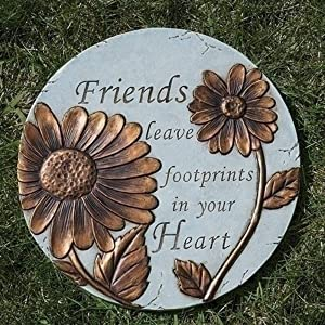 Friends Leave Footprints Garden Stepping Stone, 9 Inch