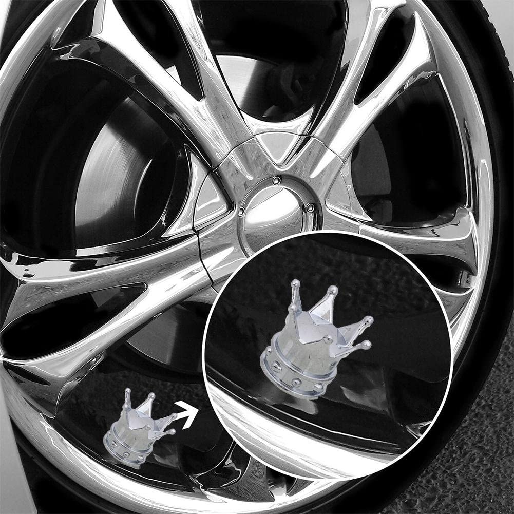4pcs Pink Universal Crown Style Car Tire Air Valve Stems Cover Caps Wheel Rims