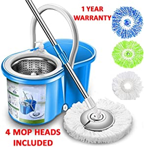 Simpli-Magic 79193 Spin 4 Mop Heads Included, Blue