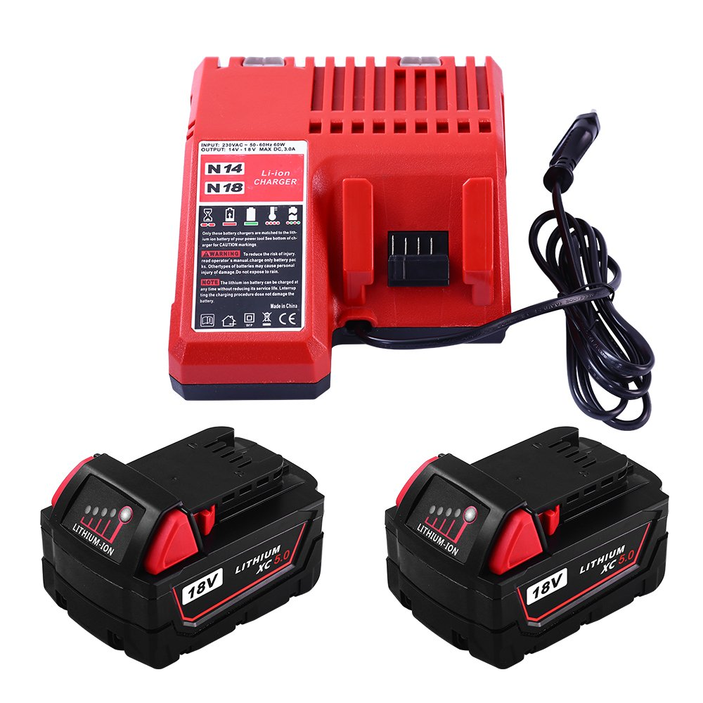2Packs Replace 18V 5000mAh for Milwaukee Tools battery and M18 Lithium-ion Battery Charger for Milwaukee by GERIT BATT