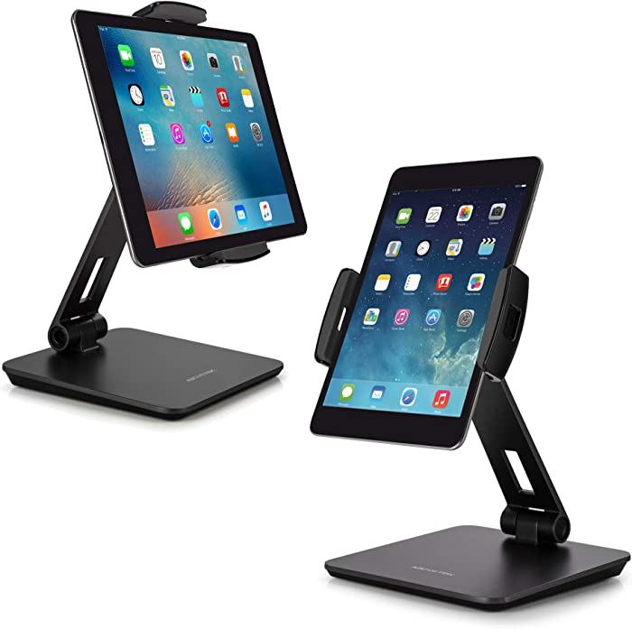 """AboveTEK Business Kiosk Aluminum Tablet Stand, 360° Swivel Tablet & Phone Holders for Any 4-14"""" Display Tablets or Cell Phones, Professional & Sturdy for Store POS Office Showroom (Grey)"""