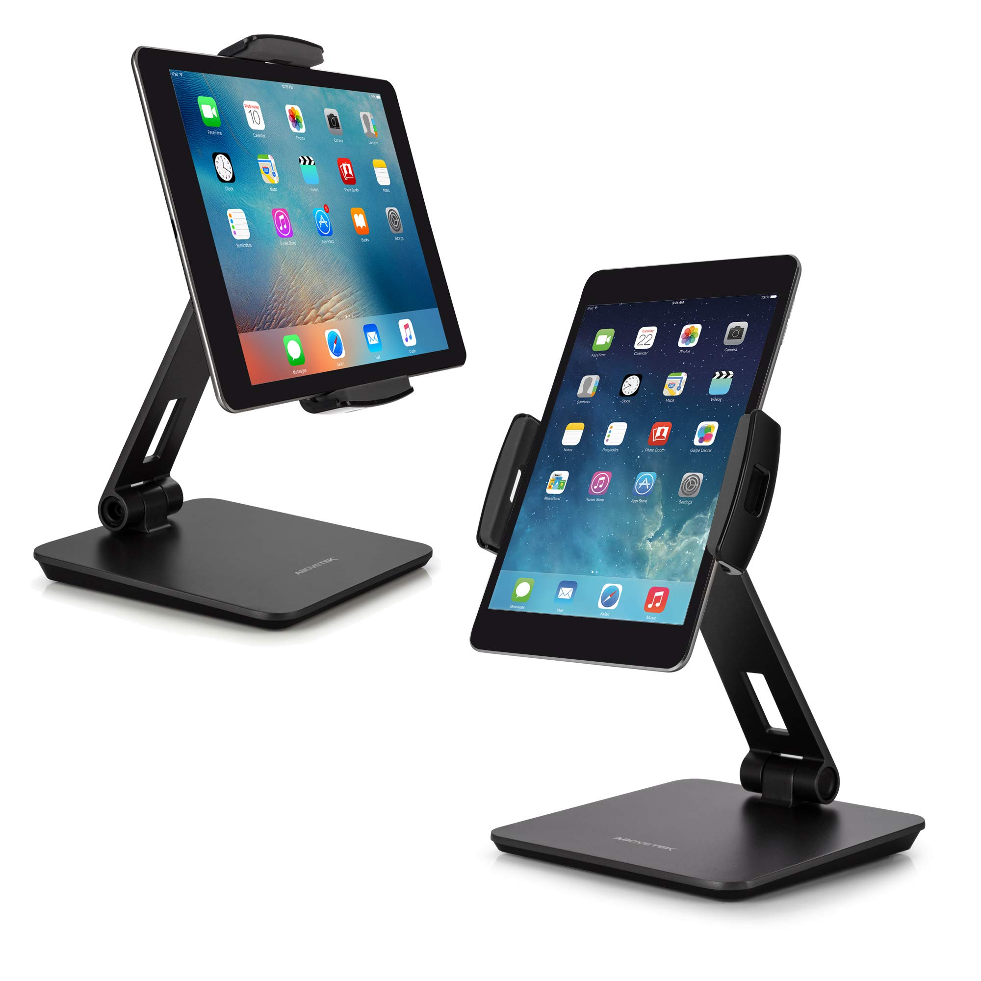AboveTEK Business Kiosk Aluminum Tablet Stand, 360° Swivel Tablet & Phone Holders for Any 4-14'' Display Tablets or Cell Phones, Professional & Sturdy for Store POS Office Showroom (Grey)