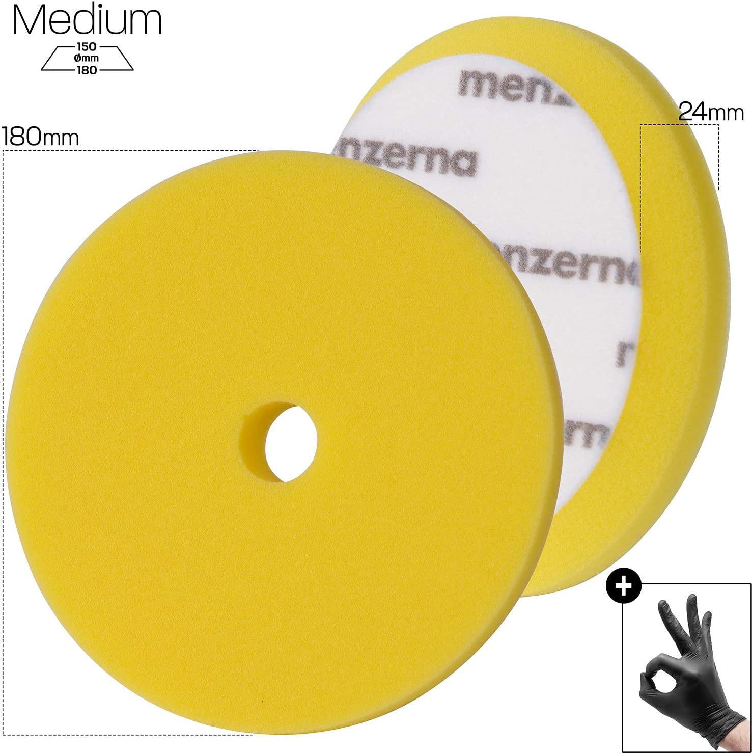 Detailmate Menzerna Medium Cut Premium Pad 180 Mm Gelb 1x Schutzhandschuh Aus Nitril Auto