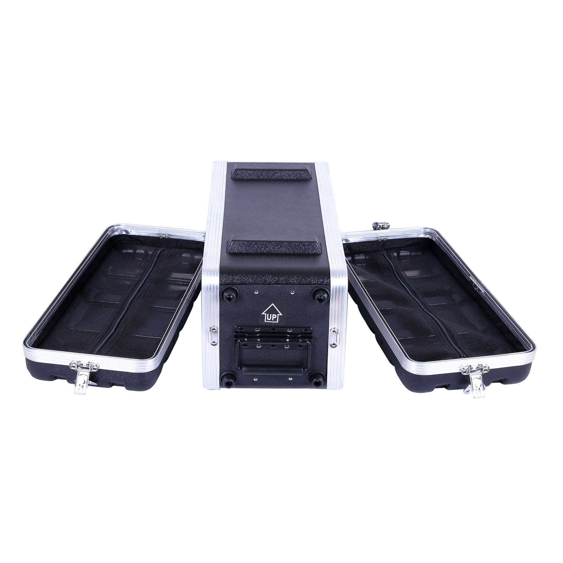 Crossrock Stackable 4U Rack Case, Strong Molded with Heavy Duty Hardware, Shallow 14.25'' Depth(CRA8604US)