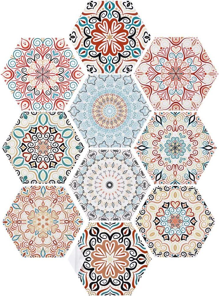 Irich Lot de 10 autocollants pour carrelage hexagonaux avec 10 motifs de style boh/ème pour carrelage cr/éatif de cuisine salle de bain