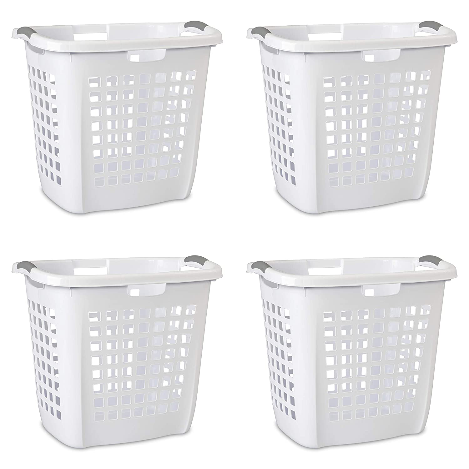 Sterilite 12258004 Ultra Easy Carry Hamper, White Hamper w/ Titanium Inserts, 4-Pack