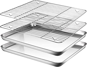 Baking sheets and Rack Set, AASELM 2 Sets Stainless Steel Baking Pans Tray Cookie Sheet with Cooling Rack, Non Toxic & Healthy, Mirror Finish & Rust Free, Easy Clean & Dishwasher Safe