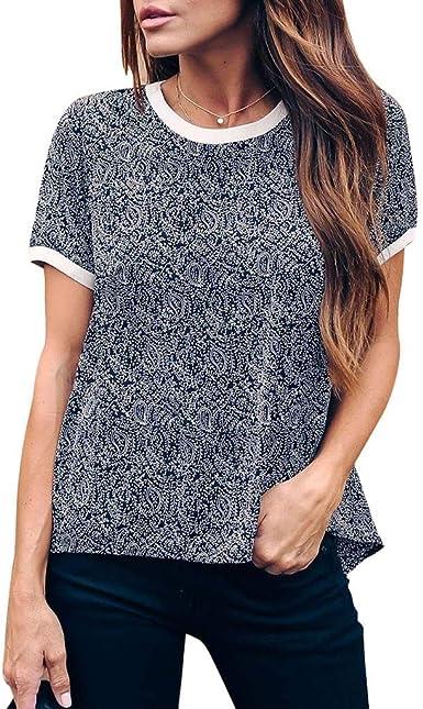WINLISTING Ropa De Mujer 2020 Camisa de Manga Corta con Rayas túnicas de impresión Informal Blusa túnica Tops: Amazon.es: Ropa y accesorios