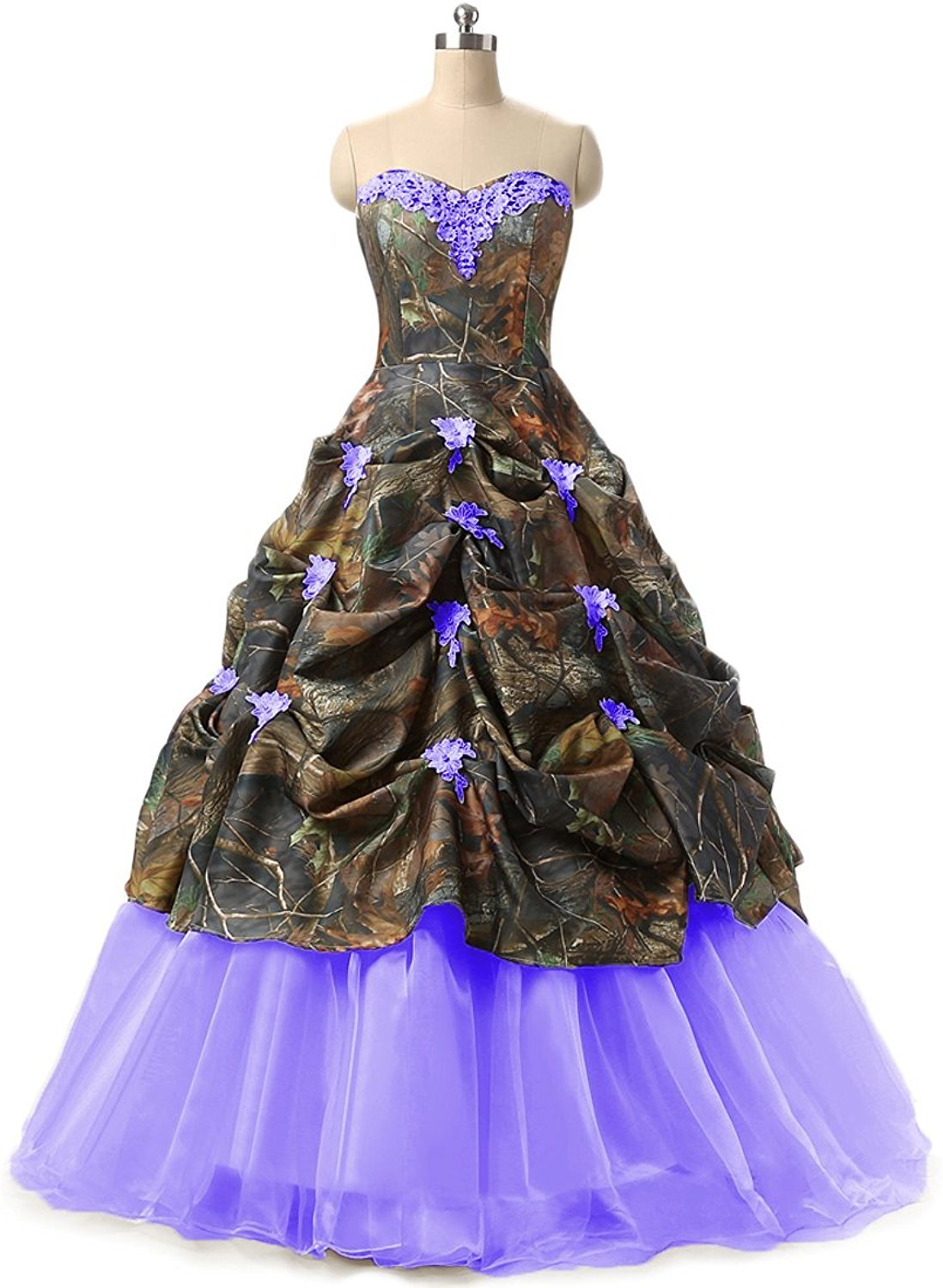 Sweetheart Ball Gown Appliques Camouflage Wedding Bridal Dresses Prom  Quinceanera Plus Size Purple US20W