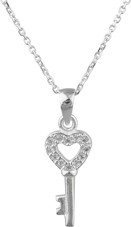 "JOTW Sterling Silver Heart Key Cz Pendant Necklace, 18"" Link Chain"
