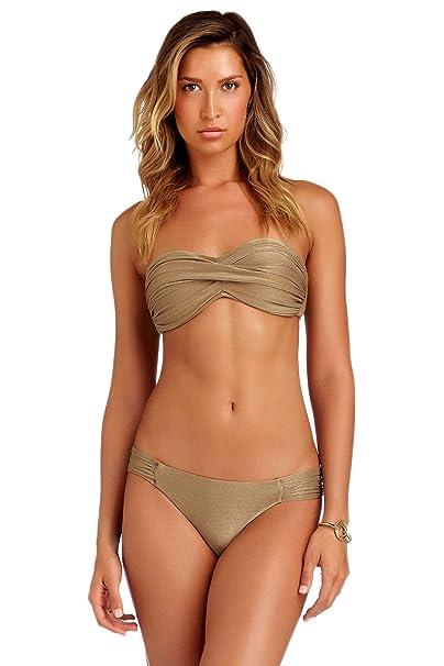 609619c3c356f Vitamin A Women's Bronze Metallic Bandeau Bikini Top Bronze 6 ...