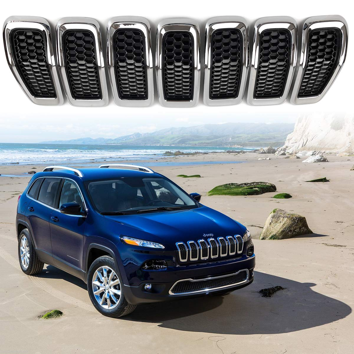 Chrome MEEPAR 7pcs Gloss Black Mesh Honeycomb with Dark Gray Ring Front Grille Grill Inserts Covers for 2014-2018 Jeep Cherokee