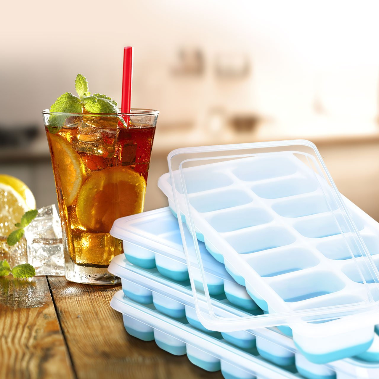 OMorc Ice Cube Trays 4 Pack, Easy-Release Silicone and Flexible 14-Ice Trays with Spill-Resistant Removable Lid, LFGB Certified & BPA Free, Stackable by OMORC (Image #7)