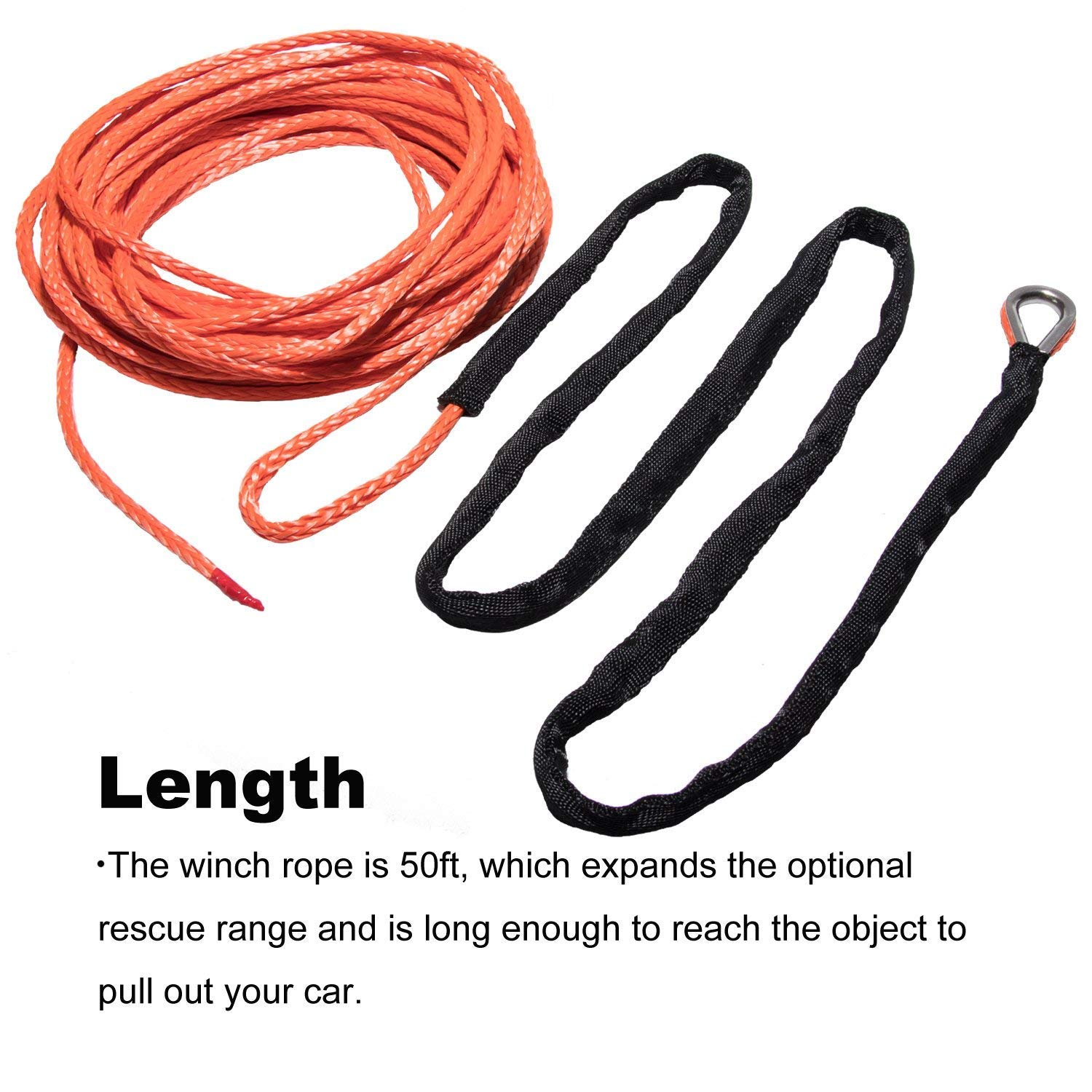 Amazon.com: Yoursme Nylon Synthetic Winch Cable Rope with Sheath for ...