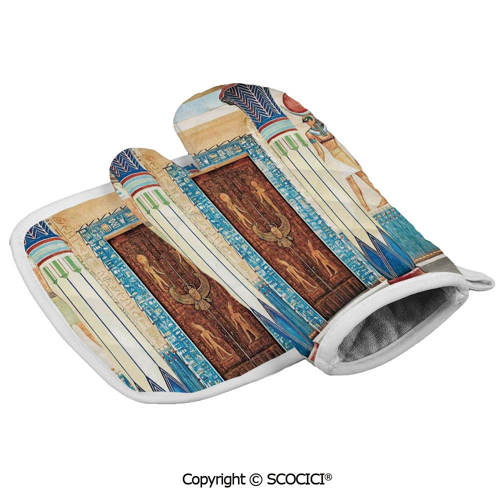SCOCICI Oven Mitts,Professional Heat Resistant Ancient Egyptian Writing on Stone Antique Old Indigenous Non-Slip Kitchen Oven Glove for Cooking,Baking,Barbecue Potholders