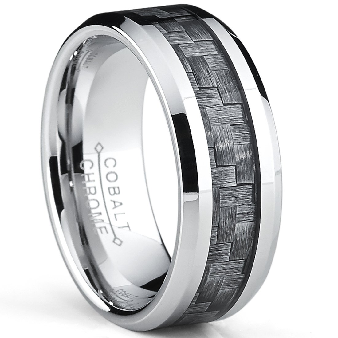 Metal Masters Co. High Polish Cobalt Men's Wedding Band Engagement Ring W/Gray Carbon Fiber Inlay, Comfort Fit SZ 13