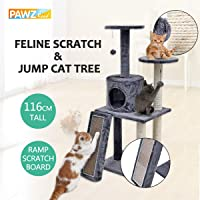 Ohana Cat Tree with Platform and Cat Scratching Board, Cat Tree Tower Sisal Scratching Posts Perches Houses