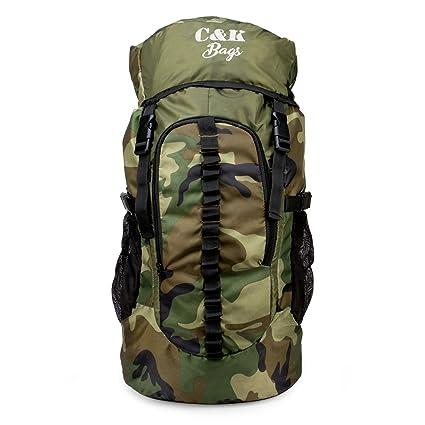 b3bdad72abb5 Chris & Kate Large Army Green Camouflage Bag || Travel Backpack || Outdoor  Sport Camp Hiking Trekking Bag || Camping Rucksack Daypack Bag (45 ...