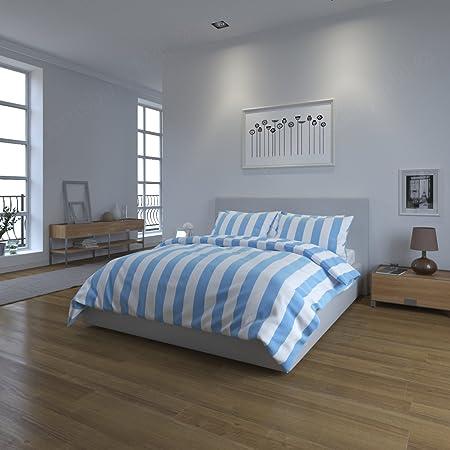 Bloomsbury Mill Light Blue White Stripe Bedding Set 180tc