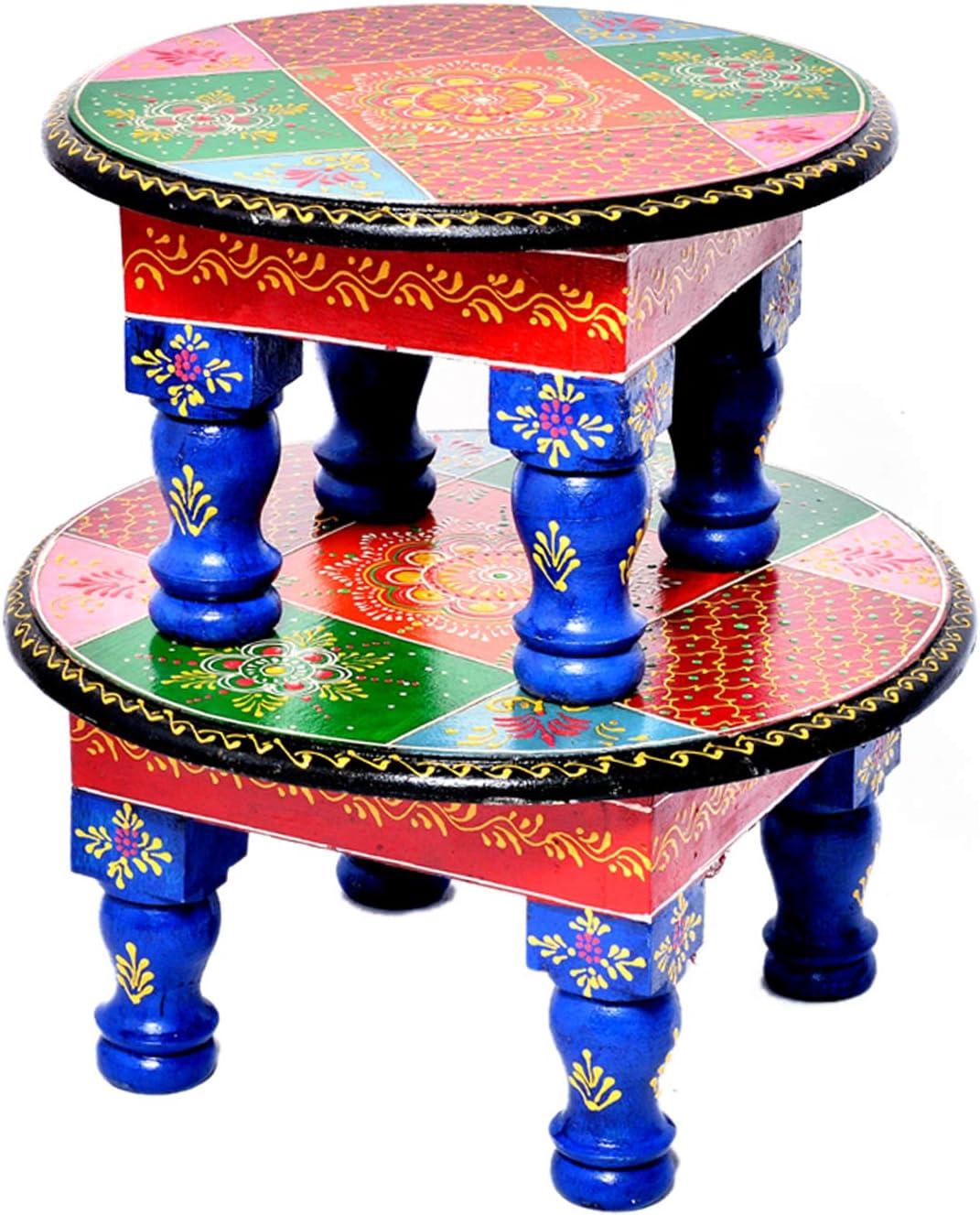 Jaipur - Juego de 2 taburetes de Mesa para Rezar a Diario (Pintados a Mano), diseño de puja Chowki y Bajot: Amazon.es: Hogar