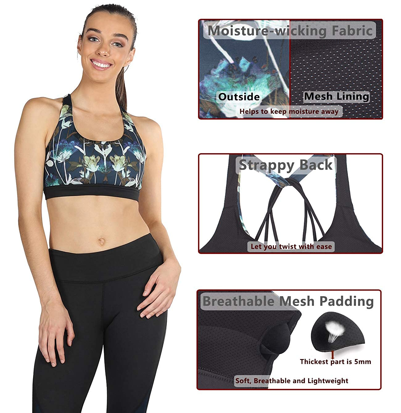 icyzone Womens Activewear Fitness Moving Comfortbal Racerback Sports Bras icyzone sports B16