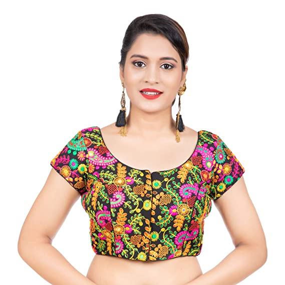 Buy Biyu Being With You Womens Cotton Designer Kutchi Hand Embroidered Mirror Work Black Princess Cut Padded Short Sleeves Readymade Saree Blouse At Amazon In,Attractive Simple Butterfly Corner Border Designs For Projects