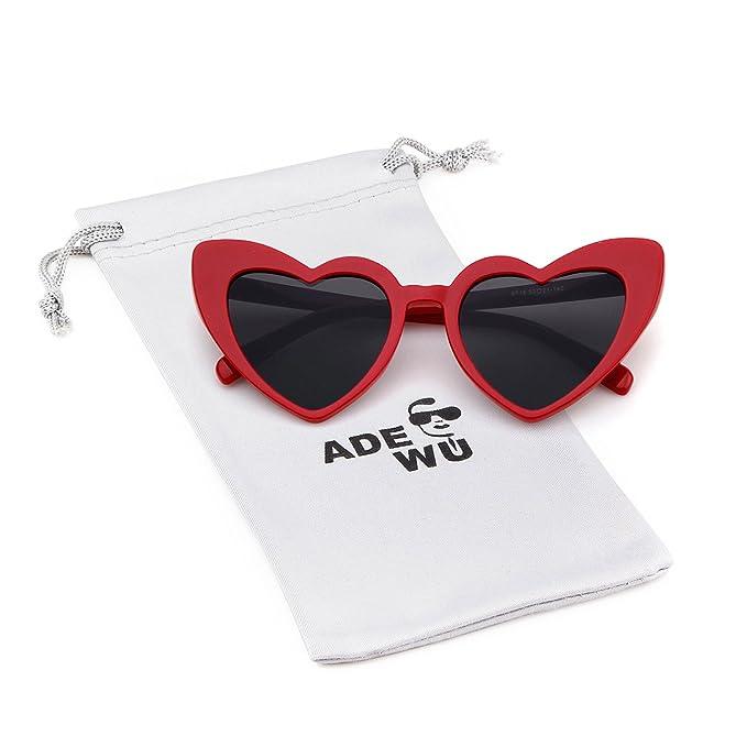 ADEWU Herzform Sonnenbrille Mode Retro Brille Damen Frauen Beige 1