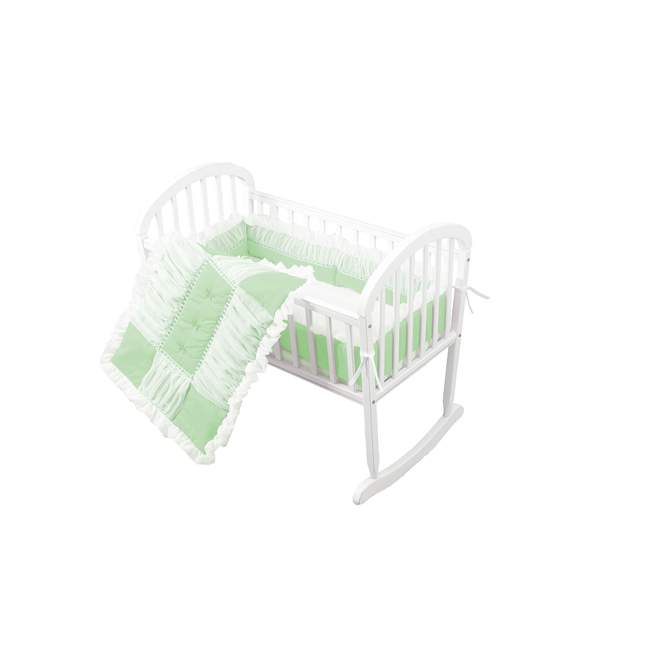 Baby Doll Sweet Touch Baby 3 Piece Cradle Bedding Set, Mint