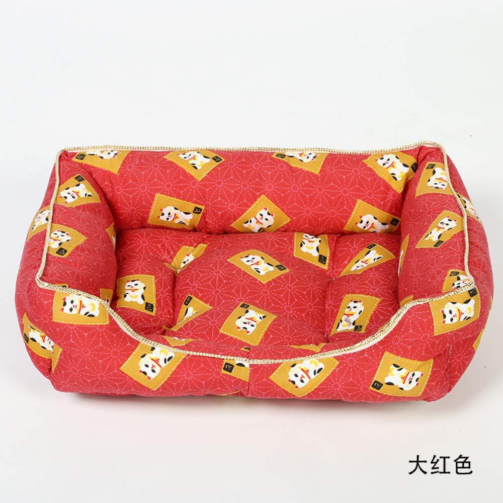52x40cm WALSITK Cartoon Lucky Cat Pet Kennel Cat Nest Four Seasons Warm Dognel Dog Mat Red, 52x40cm