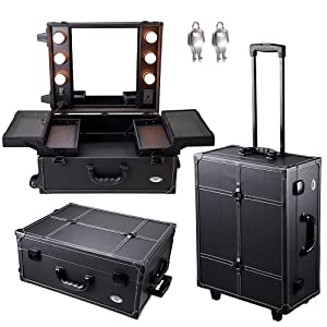 AW Black Rolling Cosmetic Studio 15x8x19' Case w/Light Mirror Portable Organized Trolley Storage Makeup Artist