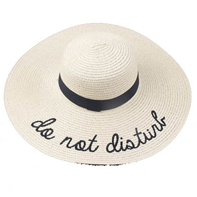 4c277bcf55d Image Unavailable. Image not available for. Color  New Summer Women Sun Hat  Ladies Wide Brim Straw Hats Foldable Beach Panama Hats Church Hat