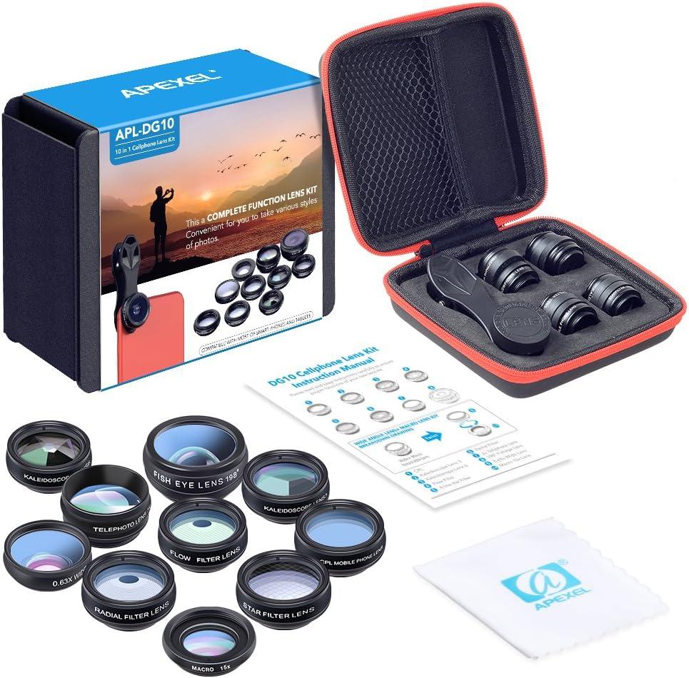 APEXEL 10 In 1 Phone Lens Kit 198 Degree Fisheye + 2x zoom + 0.63x Wide + 15x Macro + CPL + 2 Kaleidoscope + Flow + Radial + Star Filters