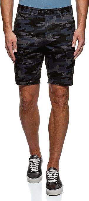 oodji Ultra Hombre Pantalones Cortos con Bolsillos de Parche
