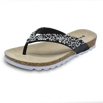 ONCAI Womens Fashion Rhinestone Flip Flops Arch Support Comfortable Soft Beach Thong Sandals Shoes Non Slip | Flip-Flops