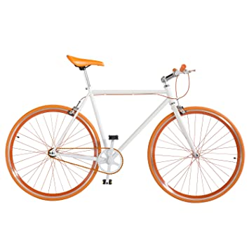 0d1a90121b4 OLOGY Fixed Gear Bicycle with Double Brake - Orange: Amazon.co.uk: Sports &  Outdoors