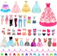 BARWA 36 Pack Doll Clothes and Accessories 5 PCS Fashion Dresses 5 Tops 5 Pants Outfits 3 PCS Wedding Gown Dresses 3 Sets Swimsuits Bikini for Barbie 10 Hangers 10shoes 11.5 inch Doll